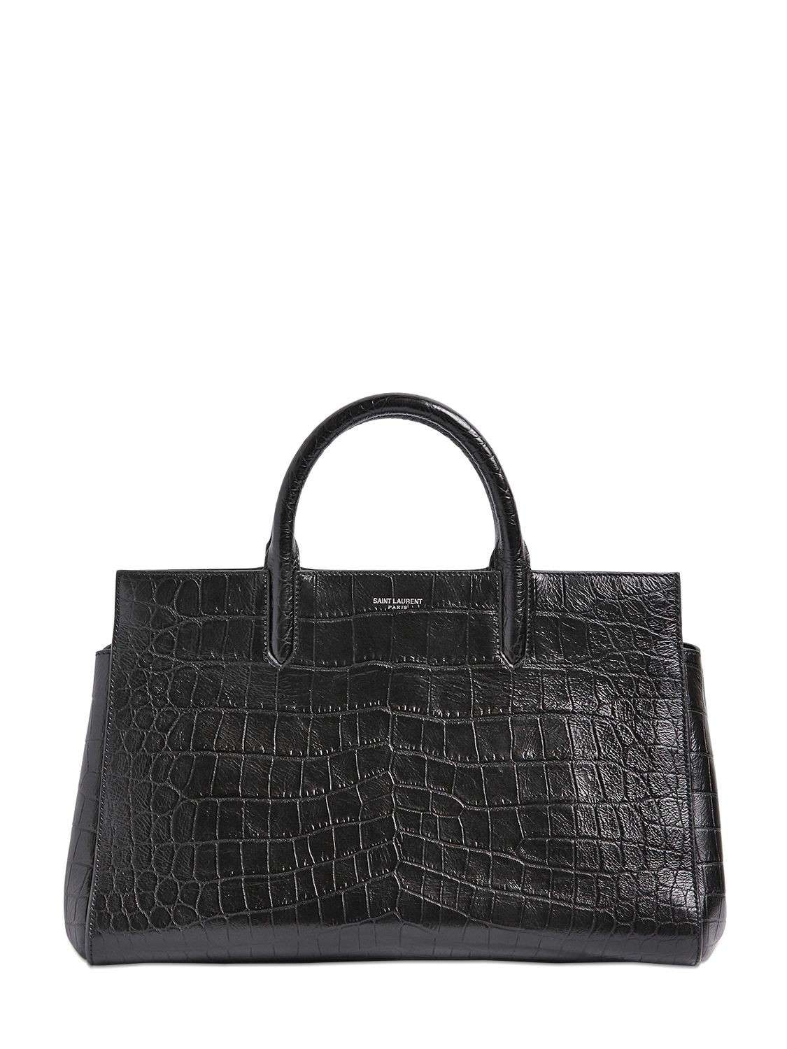 Handbag nera stampa coccodrillo Saint Laurent