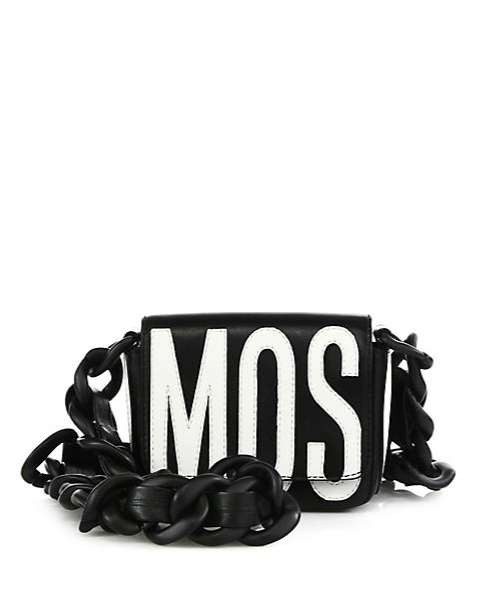 Mini bag nera con scritta bianca Moschino e catena