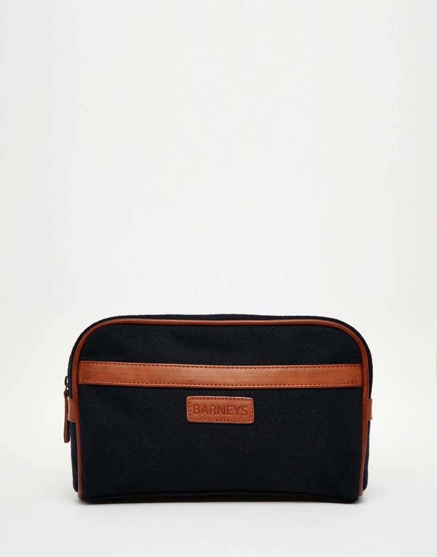 Beauty case uomo in pelle e tela Barney's