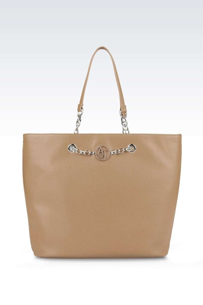 Shopping bag in ecopelle sabbia con catene Armani Jeans