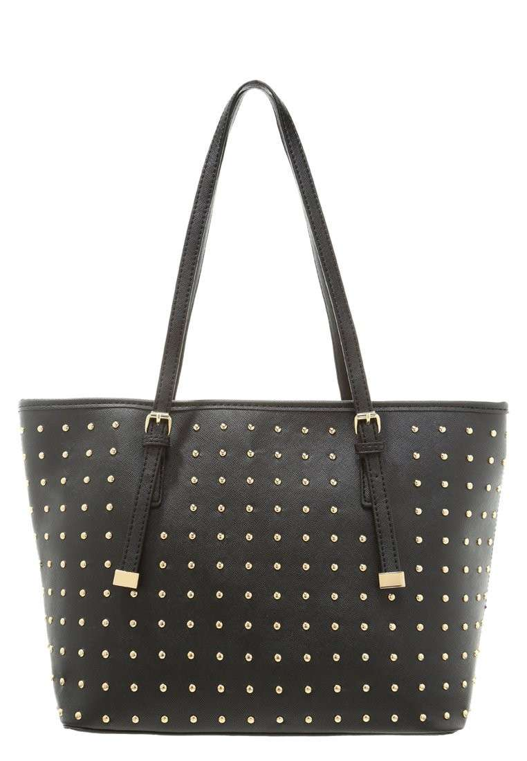Shopping bag nera con borchiette oro