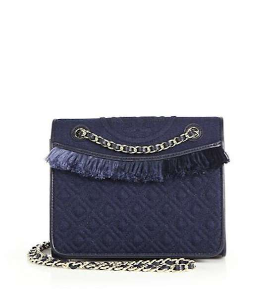 Borsina a tracolla in denim scuro con frange Tory Burch