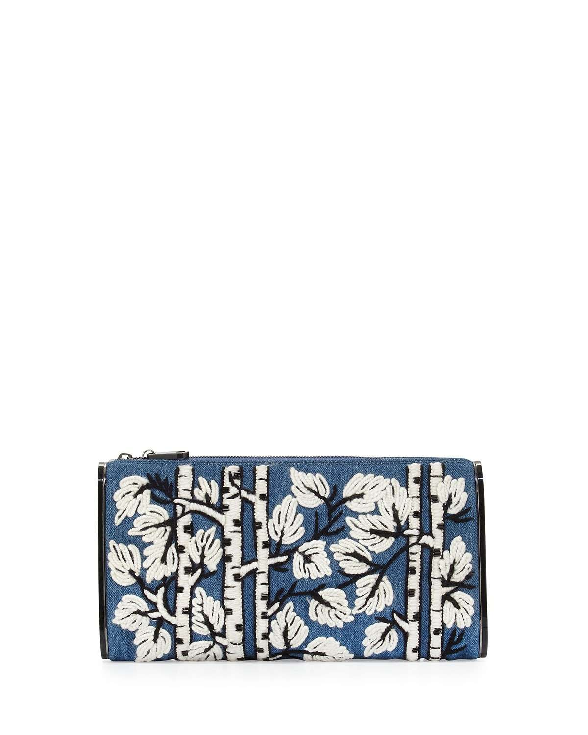 Clutch in jeans ricamato Edie Parker