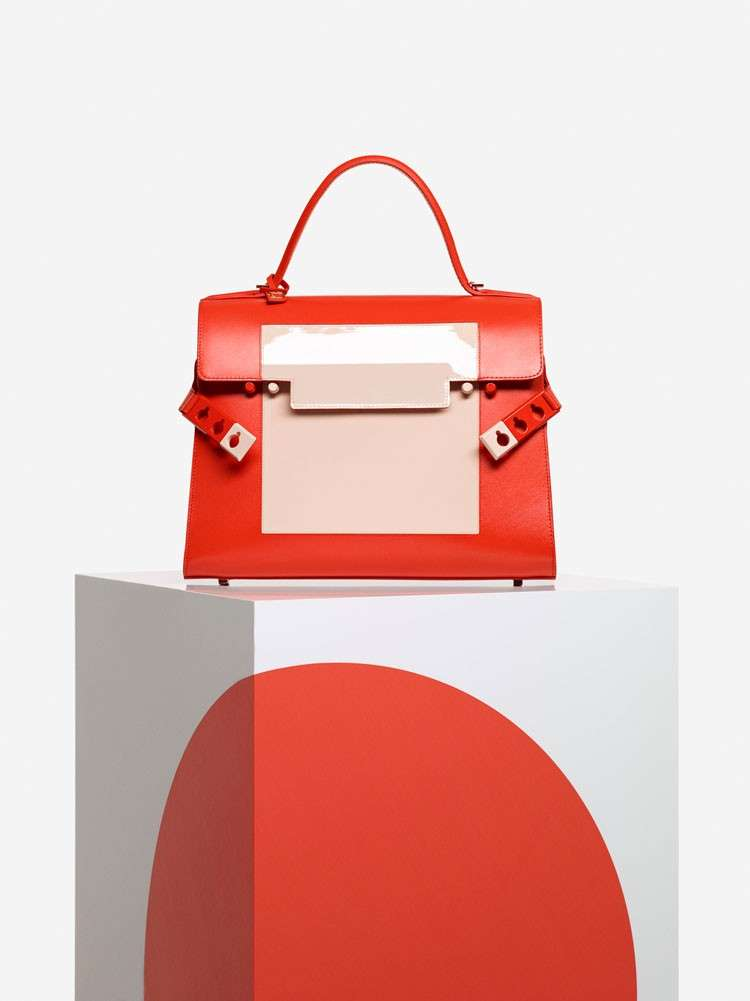 Handbag color block cipria e arancio