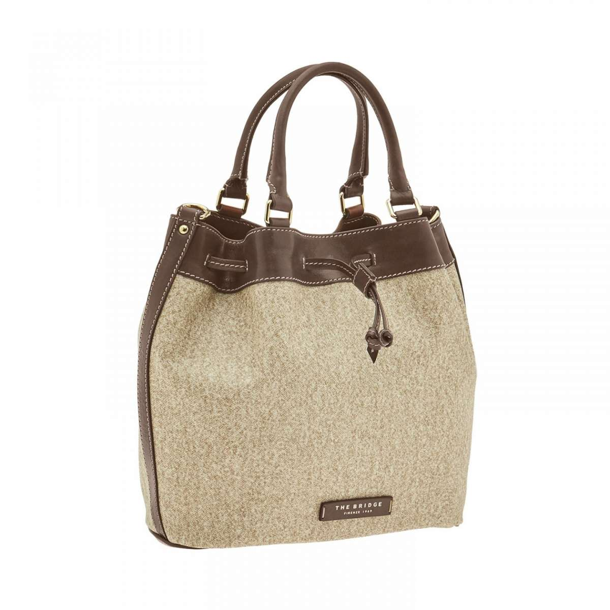 Borsa secchiello con dettagli in pelle The Bridge
