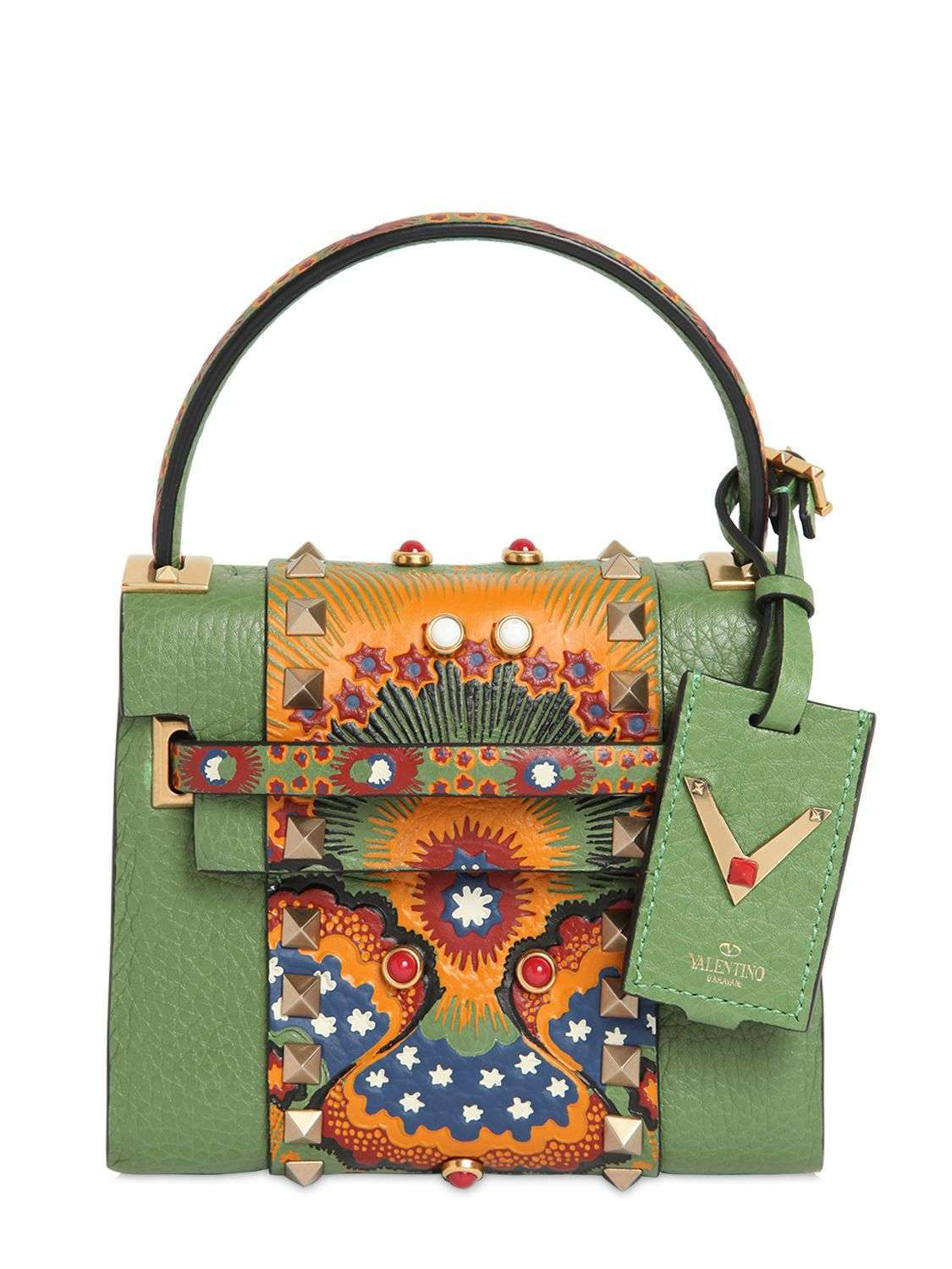 Mini bag in pelle verde con inserto stampa