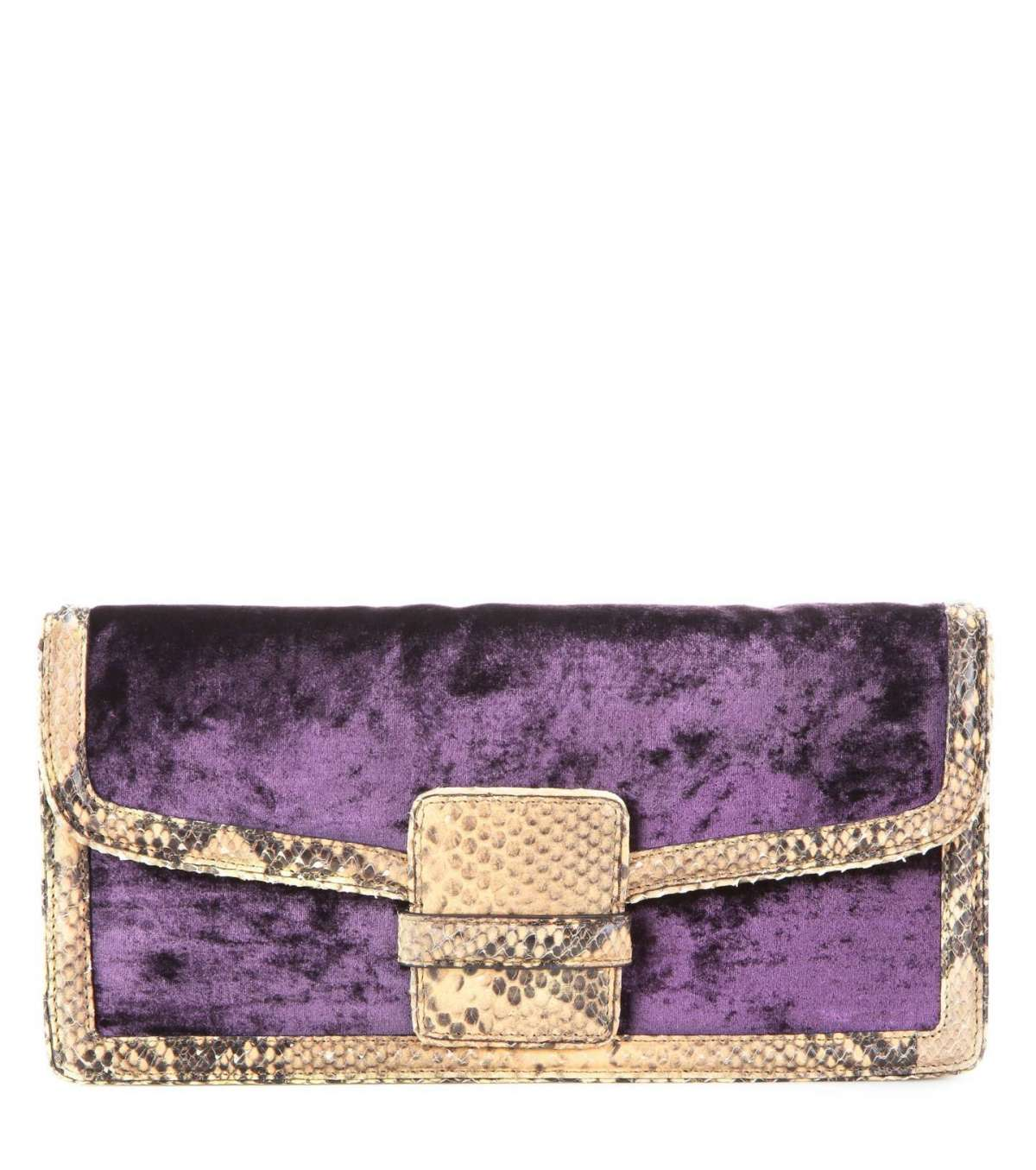 Clutch velluto viola Dries Van Noten
