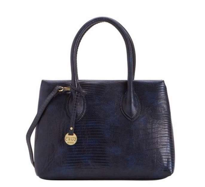 Handbag in rettile blu Carpisa