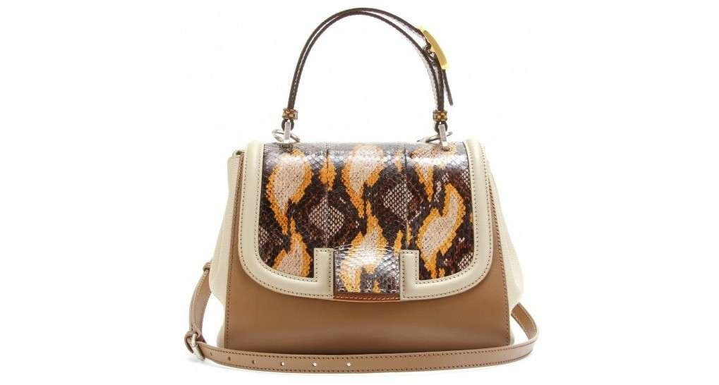 Fendi silvana bag in pitone marrone