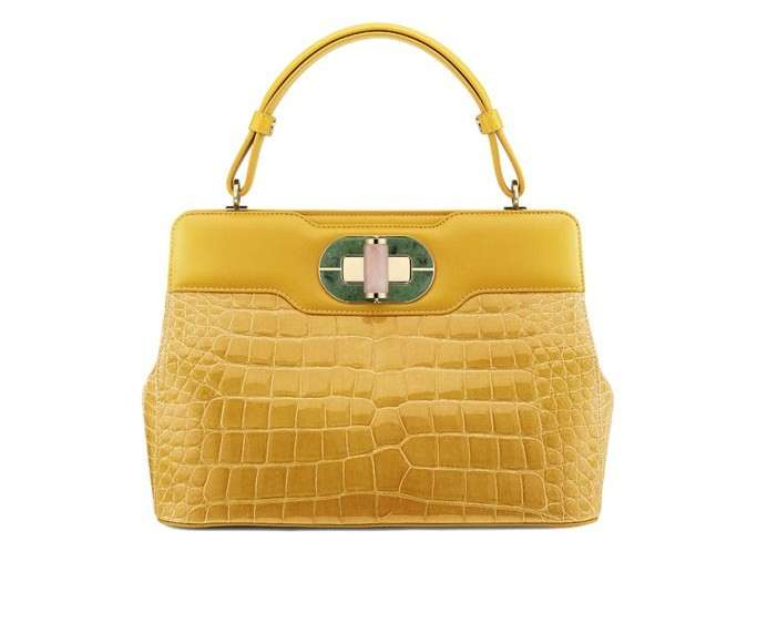 Handbag Bulgari in alligatore giallo