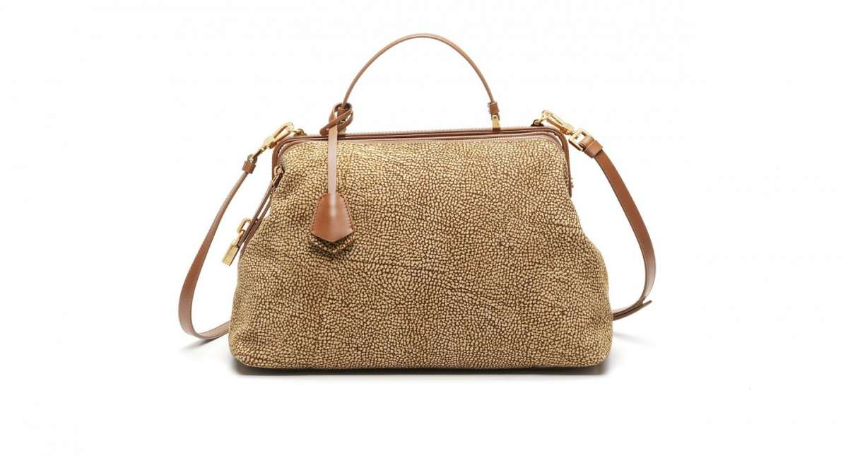 Handbag Borbonese in pelle media