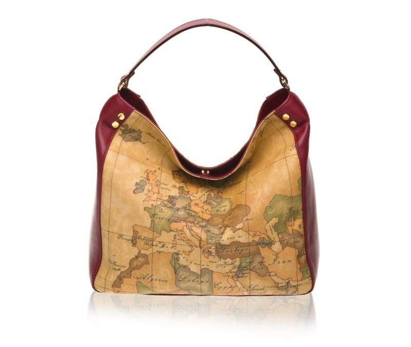 Hobo bordeaux con stampa Geo