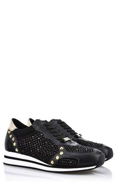 Sneakers nere con strass