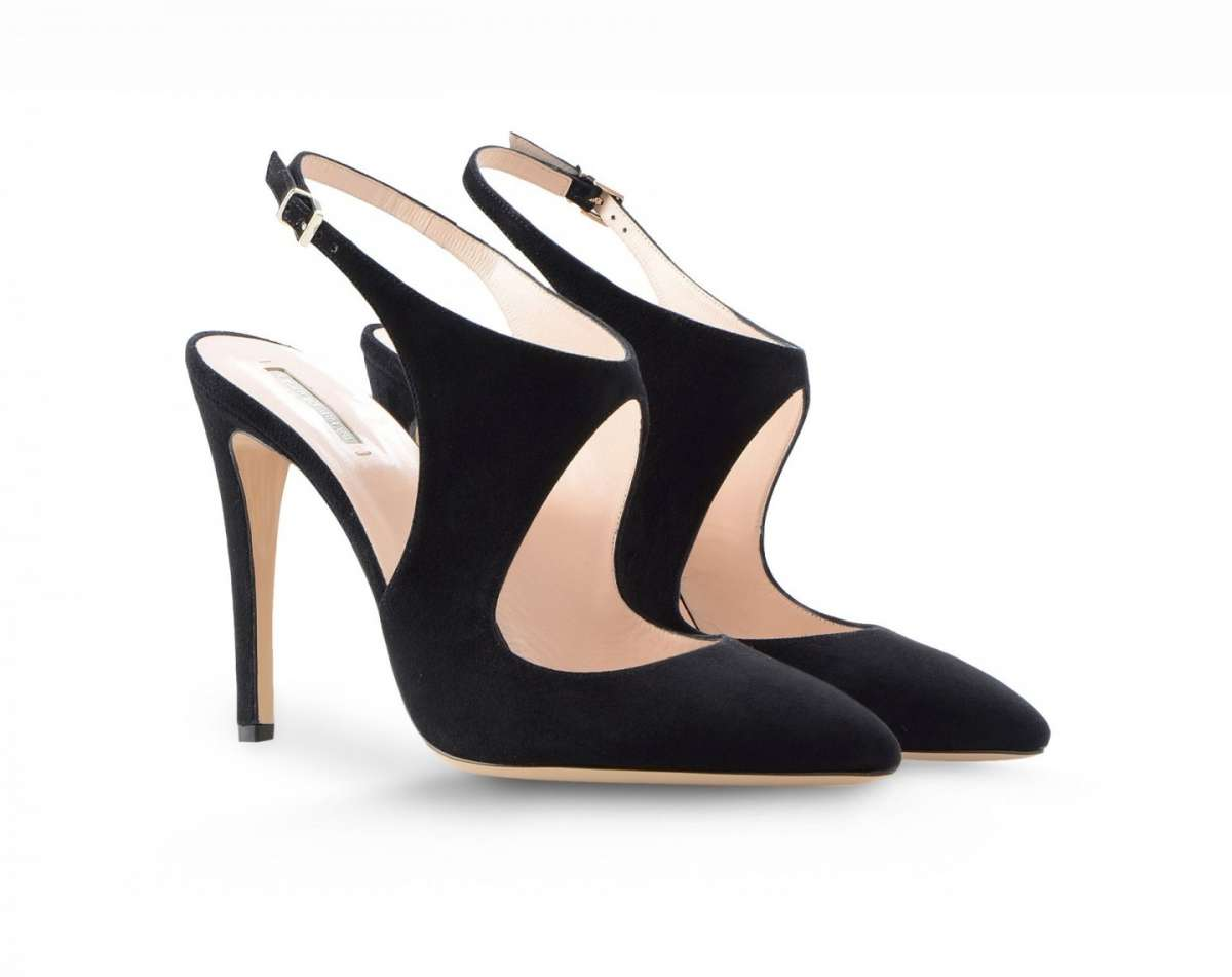 Slingback in suede nere