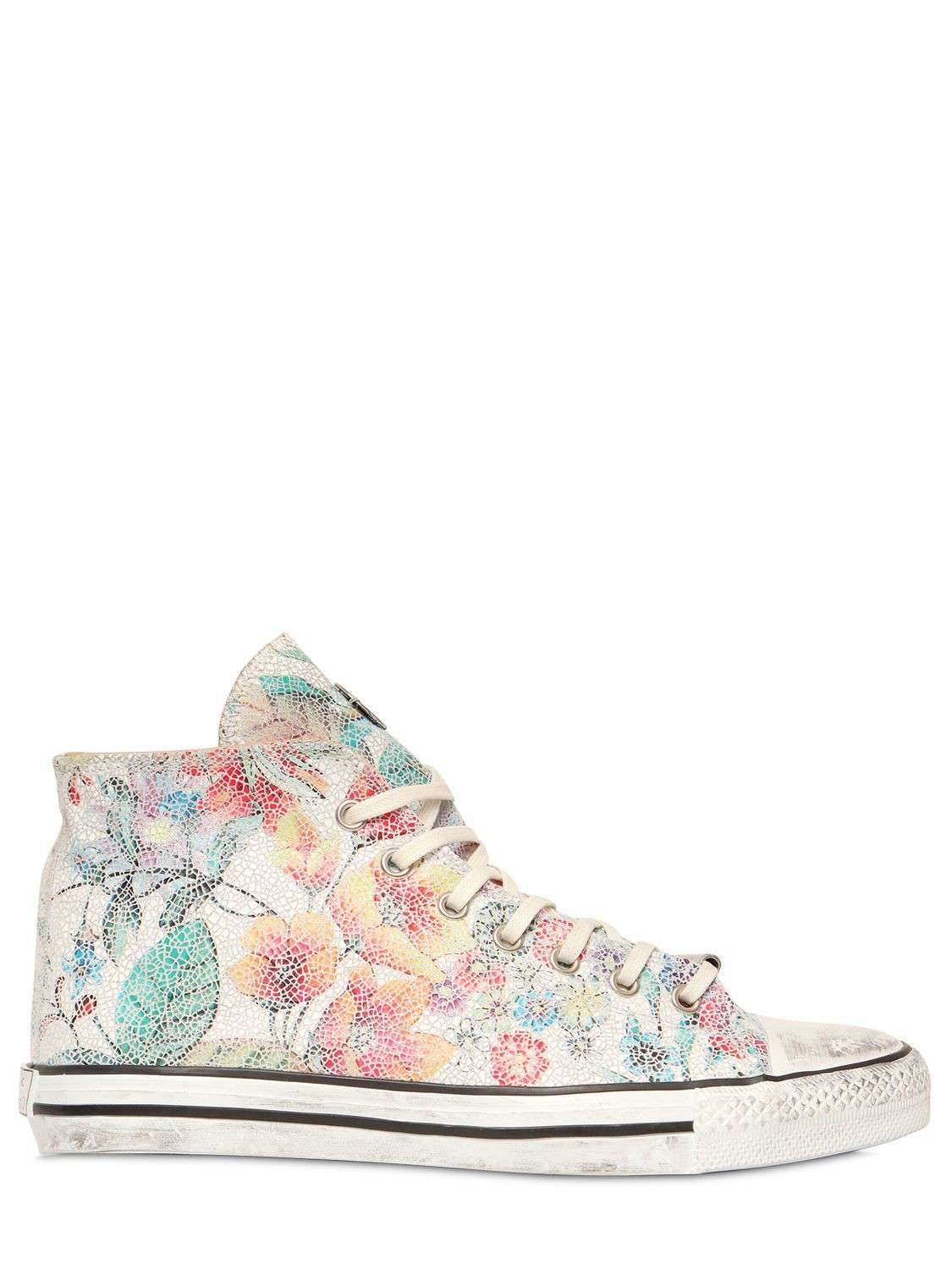 Sneakers in pelle stampa floreale Black Dioniso