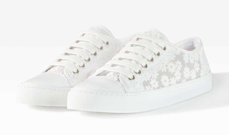 Sneakers ricamate bianche