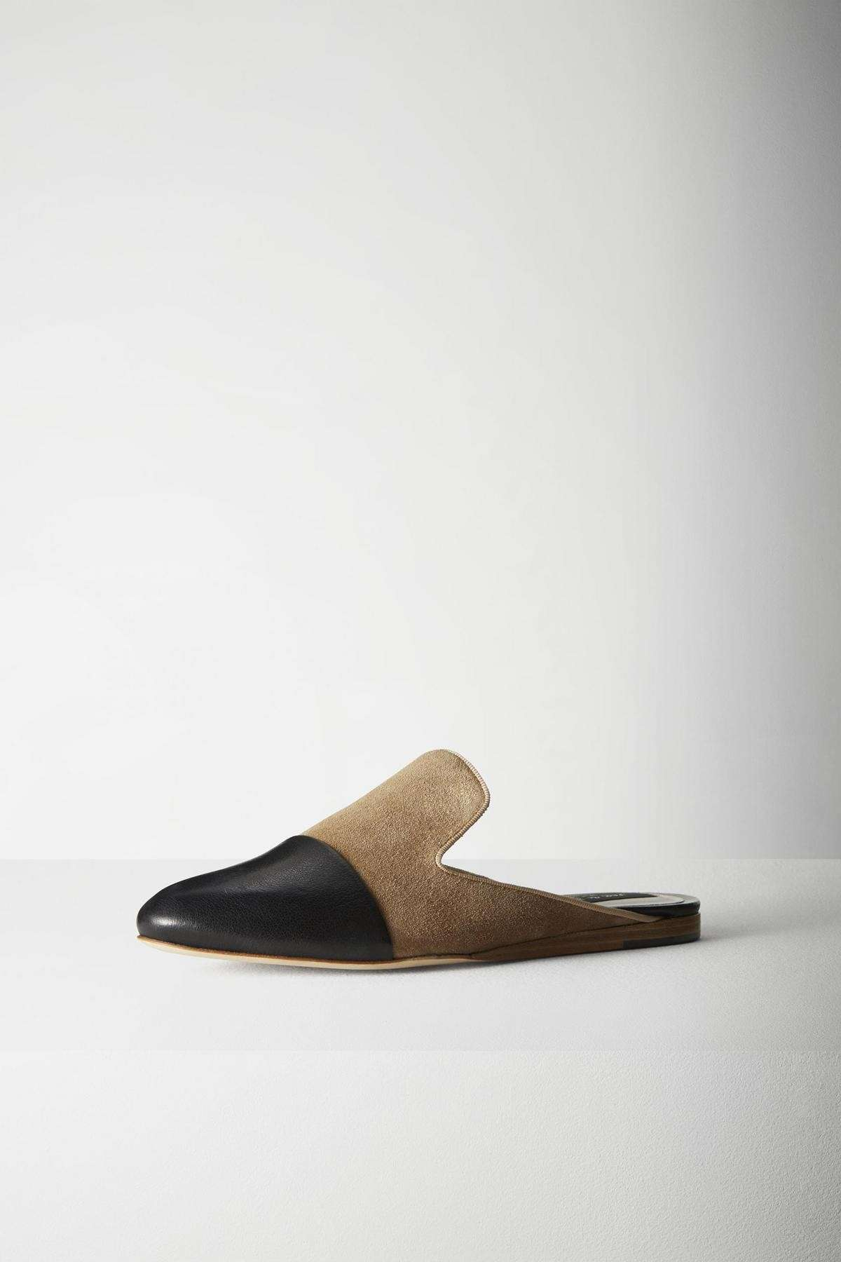Slippers nere in suede cammello