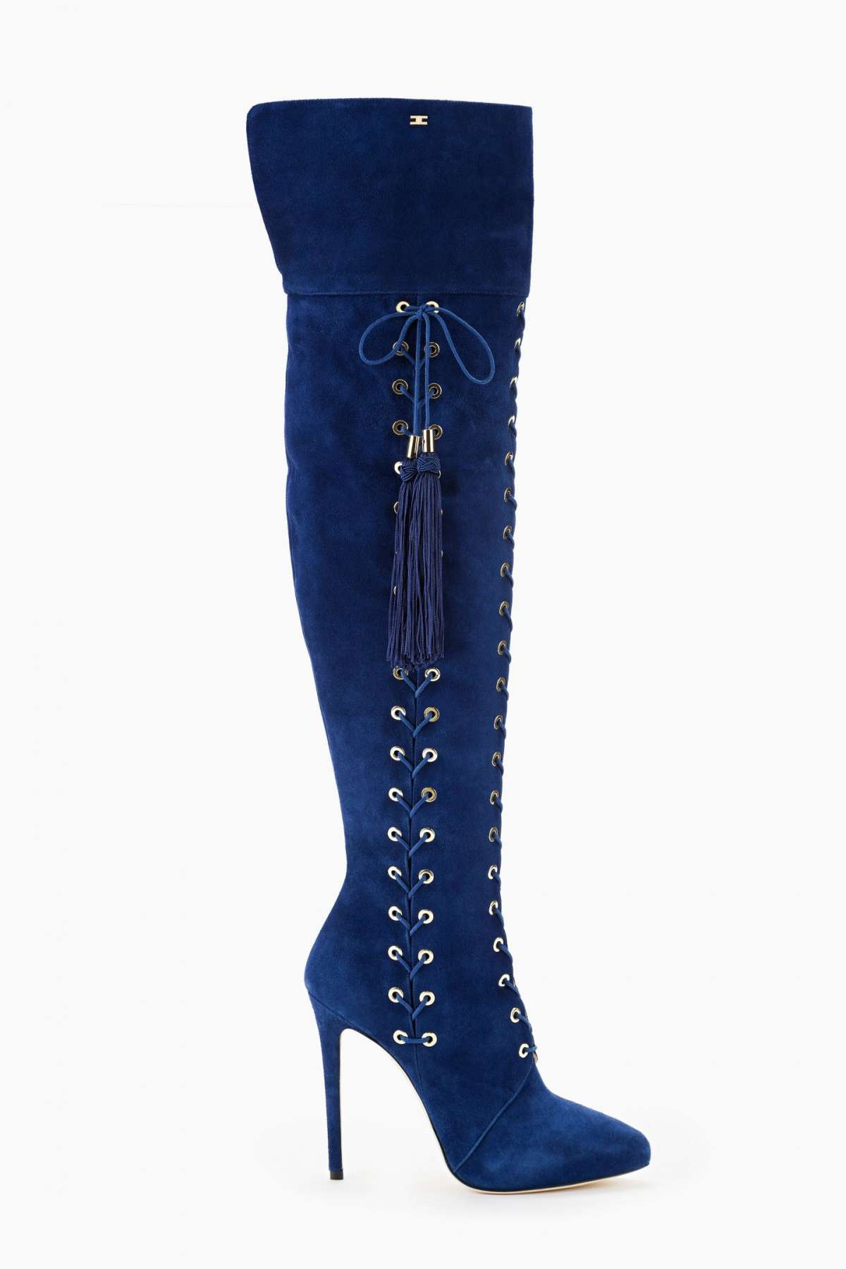 Cuissardes lace up blu con tacco