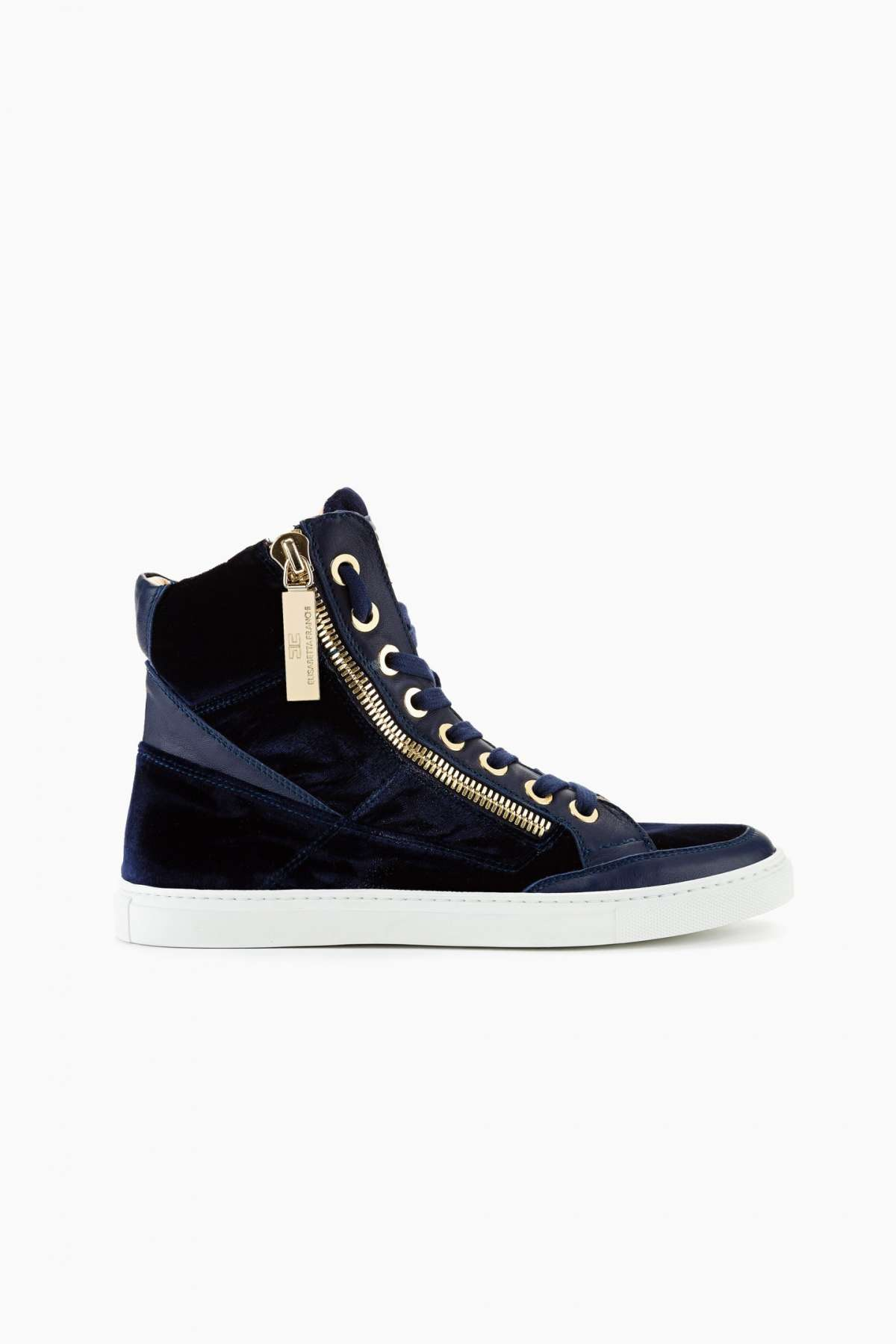 Sneakers in velluto blu con zip oro