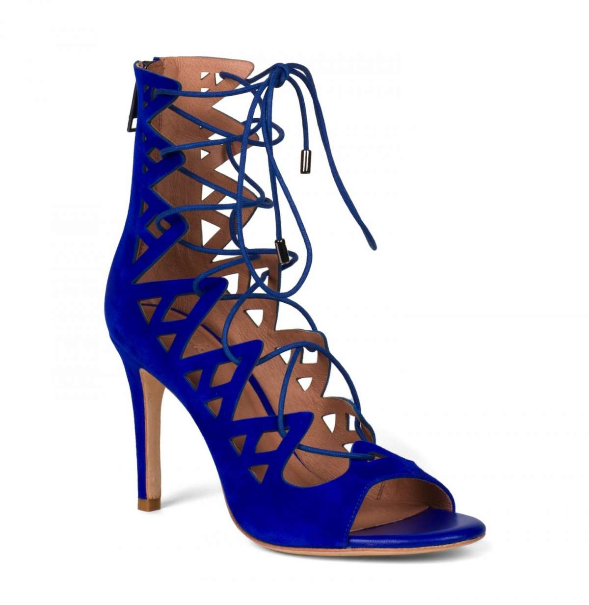 Sandali lace up blu con tacco