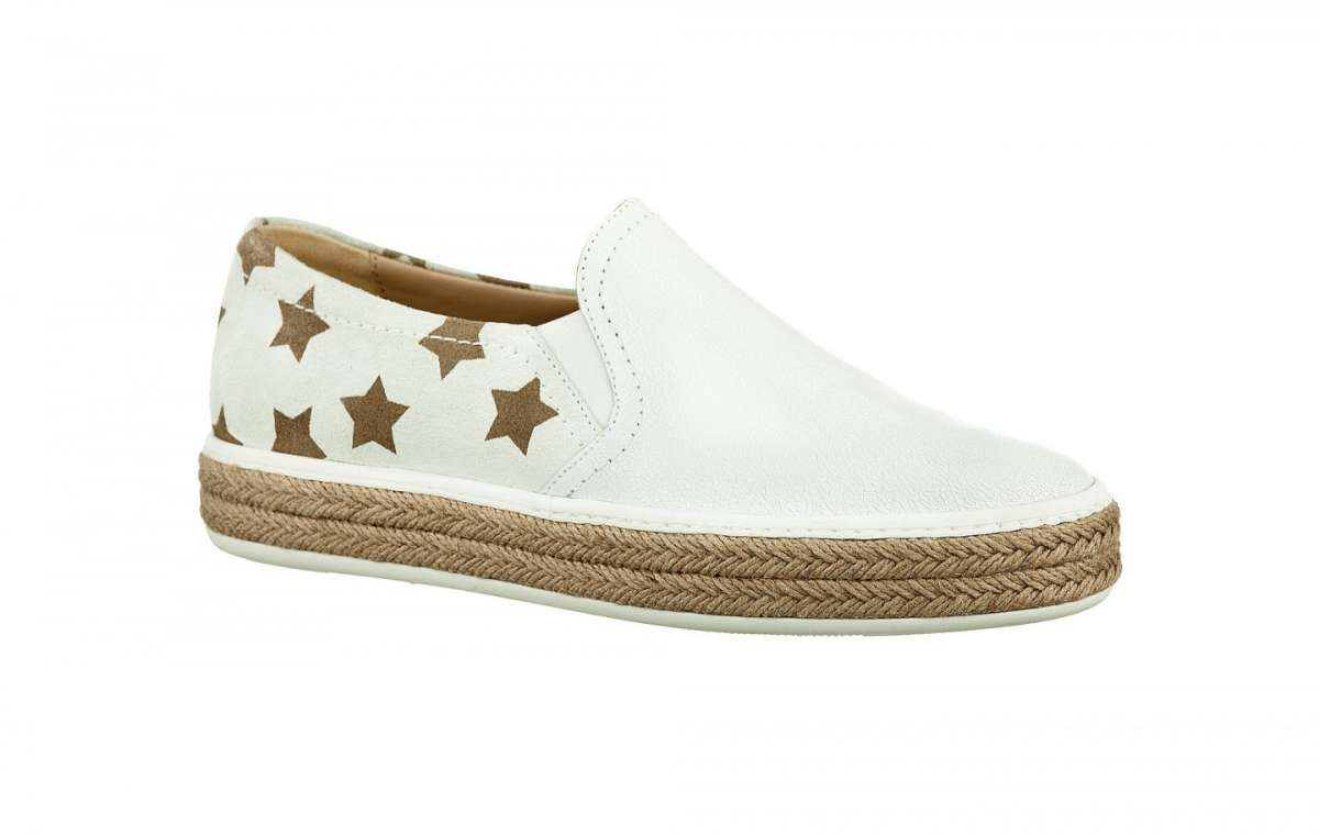 Slip on bianche con stampa a stelle