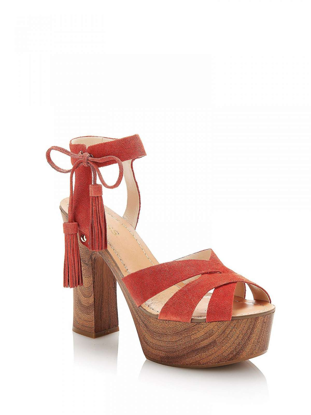 Sandali block heels in camoscio ruggine
