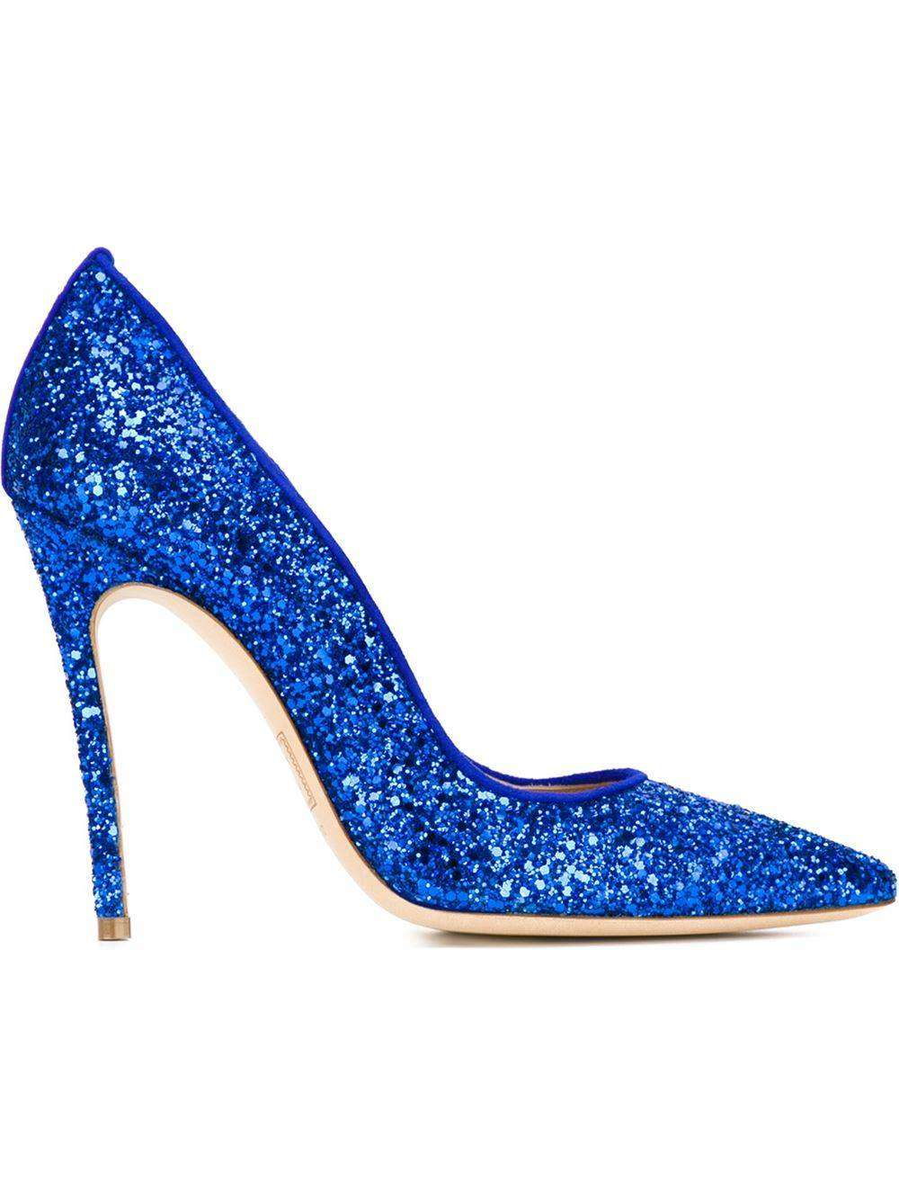 Pumps a punta glitter blu DSquared2