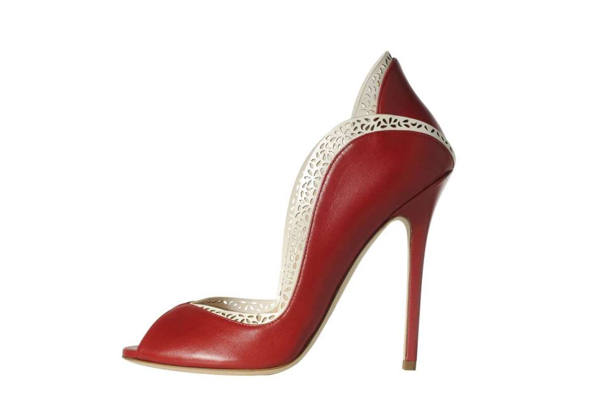 Pumps open toe rosse Danae