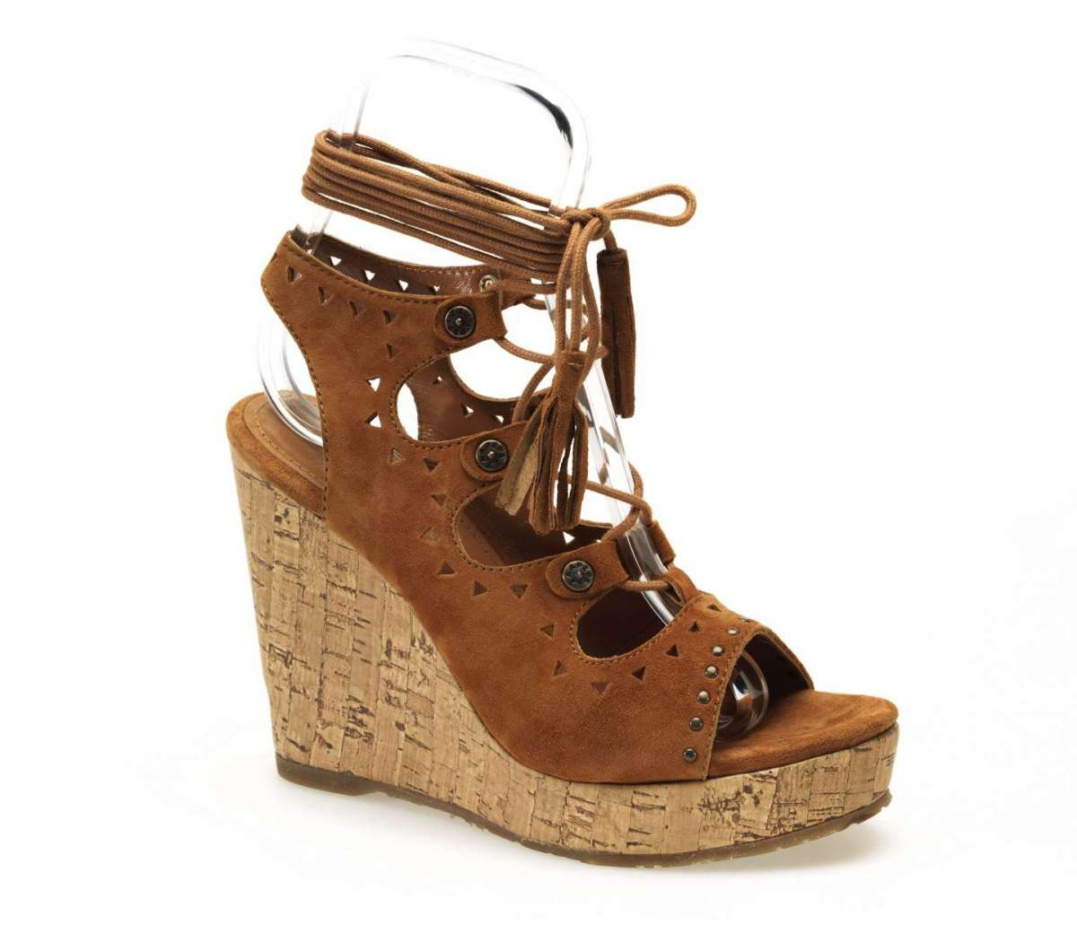 Sandali cuoio lace up con zeppa