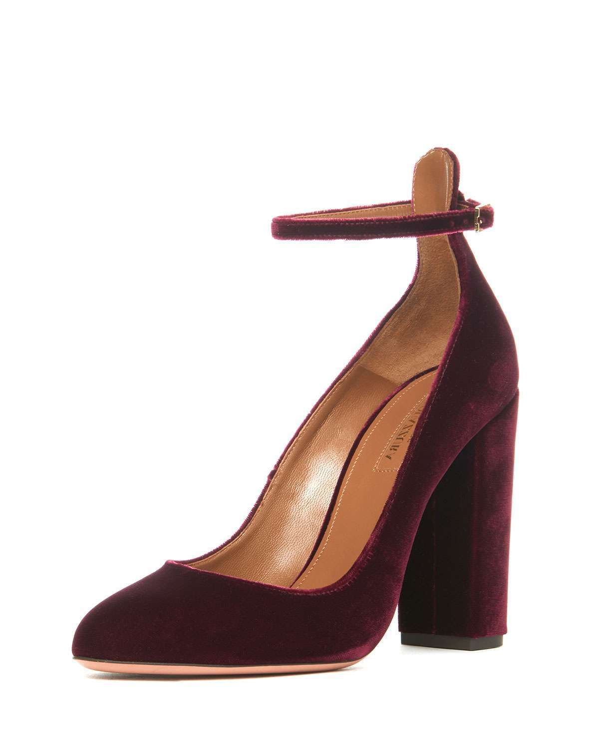 Pumps in velluto borgogna Aquazzura