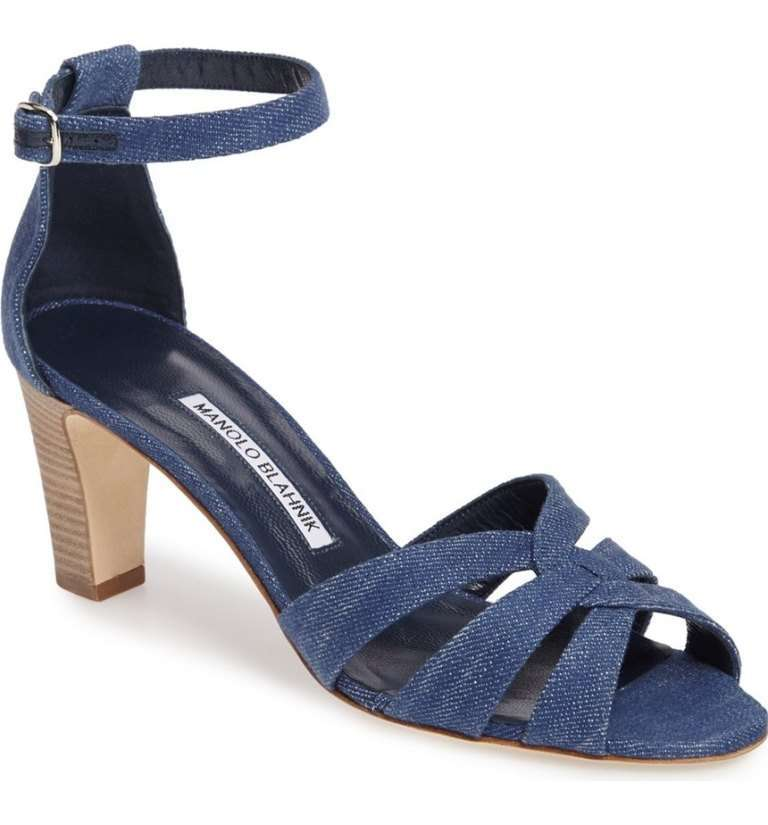 Sandali in denim blu Manolo Blahnik