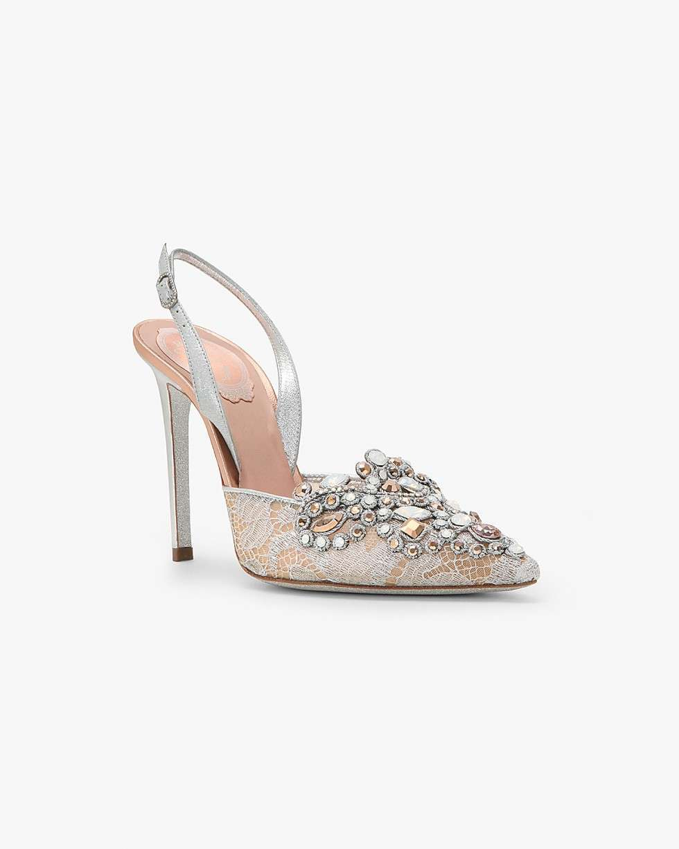 Slingback in pizzo con punti luce
