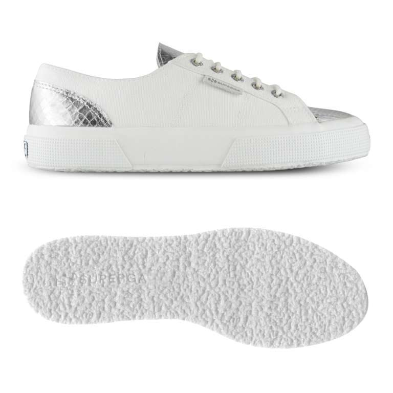Sneakers bianche e argento
