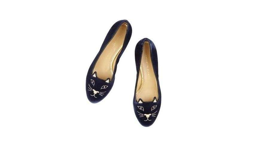 Charlotte Olympia, slippers Kitty nere