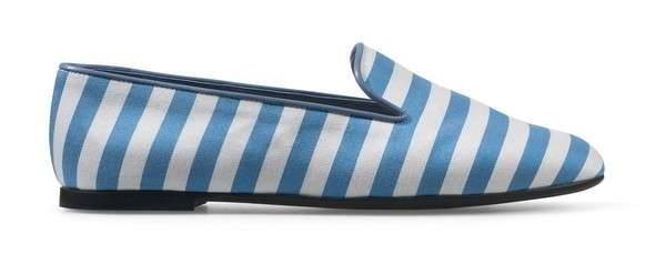 Slippers a righe azzurre