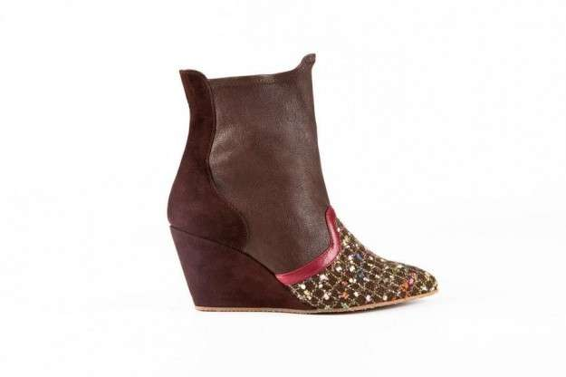 Ankle boot con punta patchwork