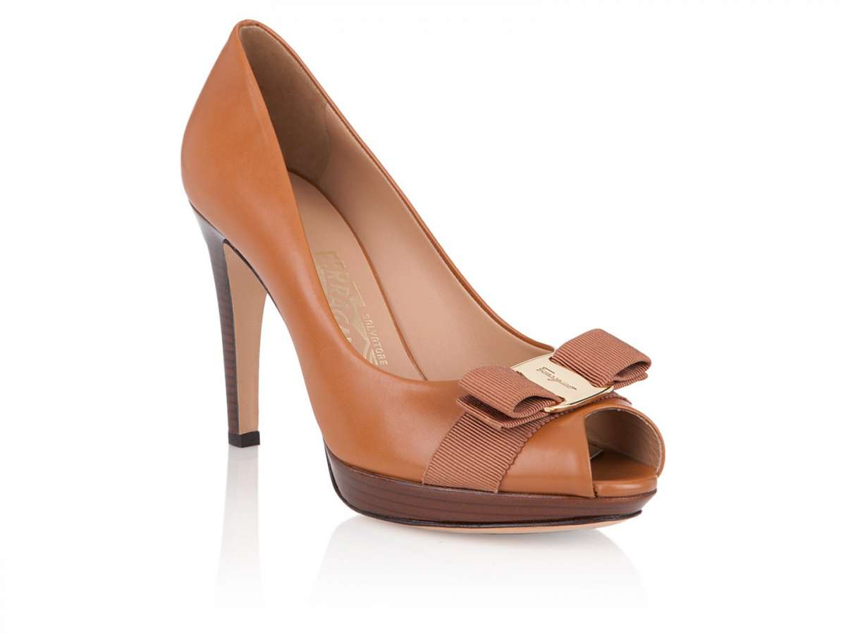 Peep-toe in pelle marrone