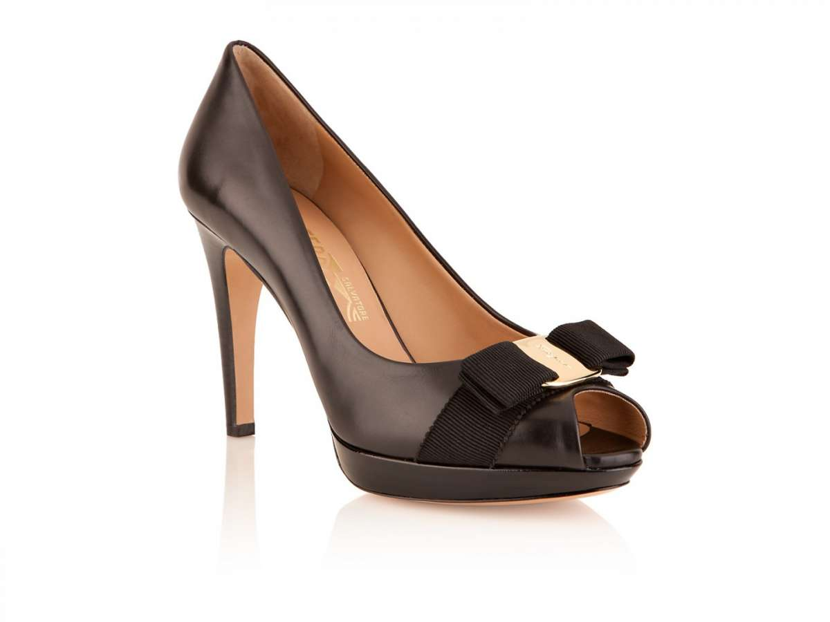 Peep-toe in pelle marrone scuro