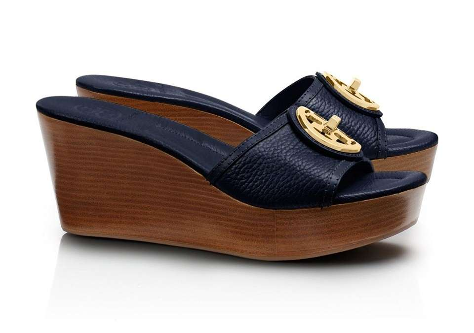 Sandali in pelle blu Tory Burch