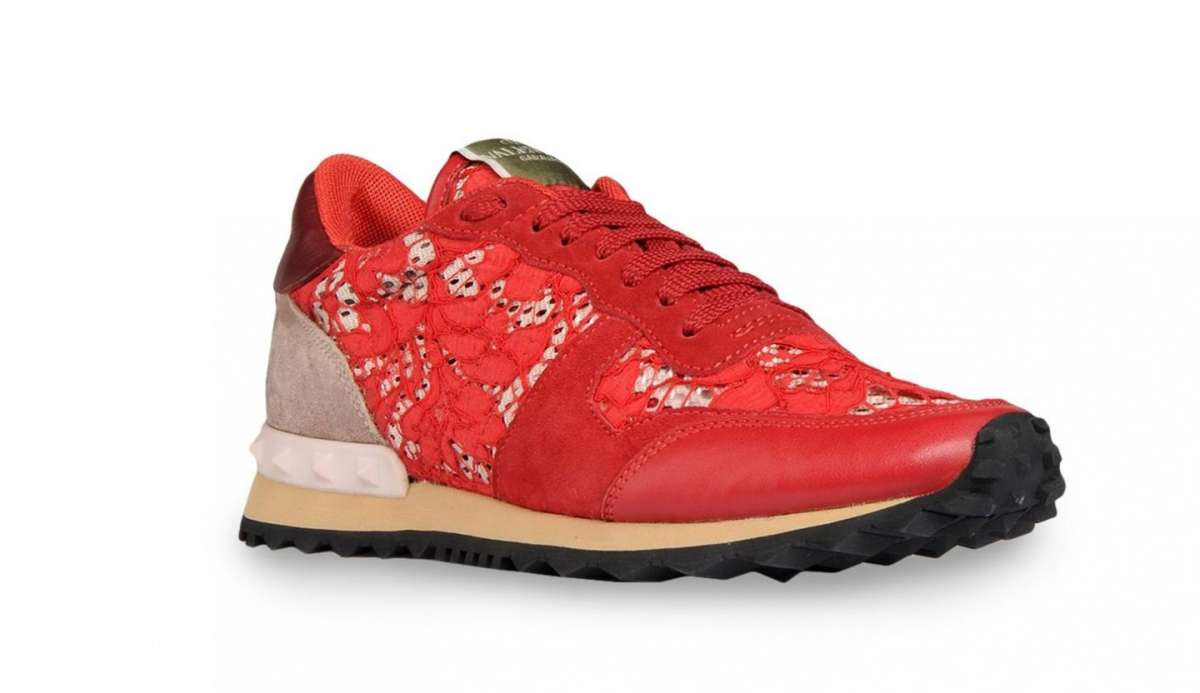 Sneakers in pizzo Valentino rosse