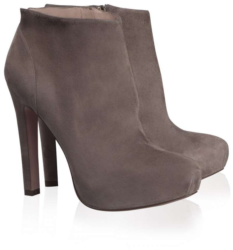 Ankle boots color taupe in suede