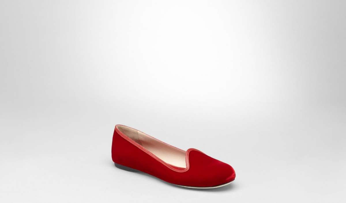 Slippers in velluto rosso