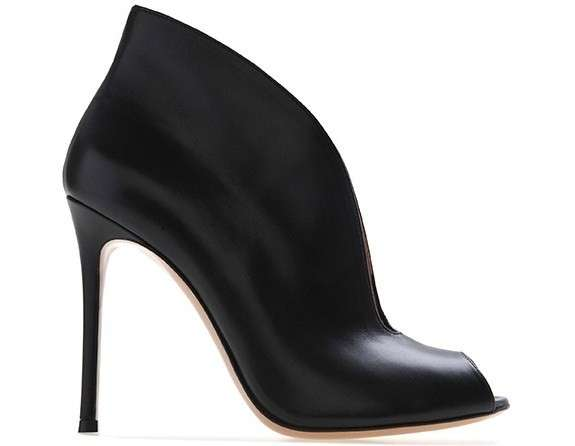 Ankle boot peep-toe neri