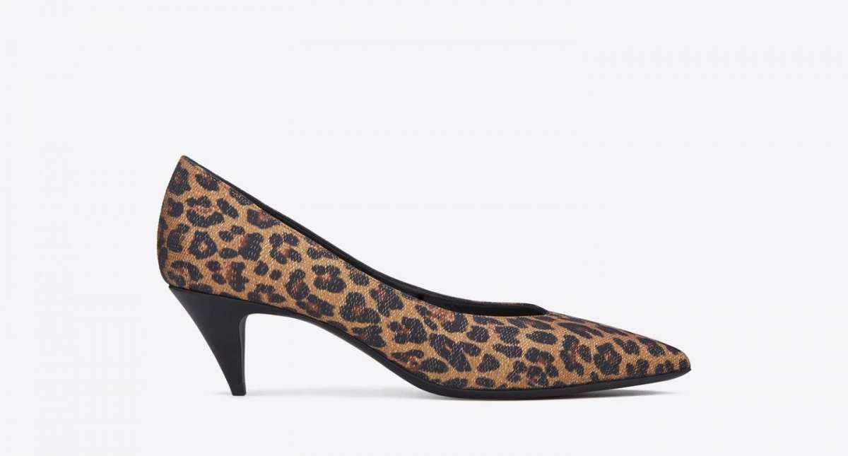 Pumps maculate Saint Laurent con tacco gattino