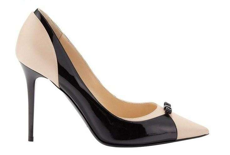 Pumps bicolor in vernice