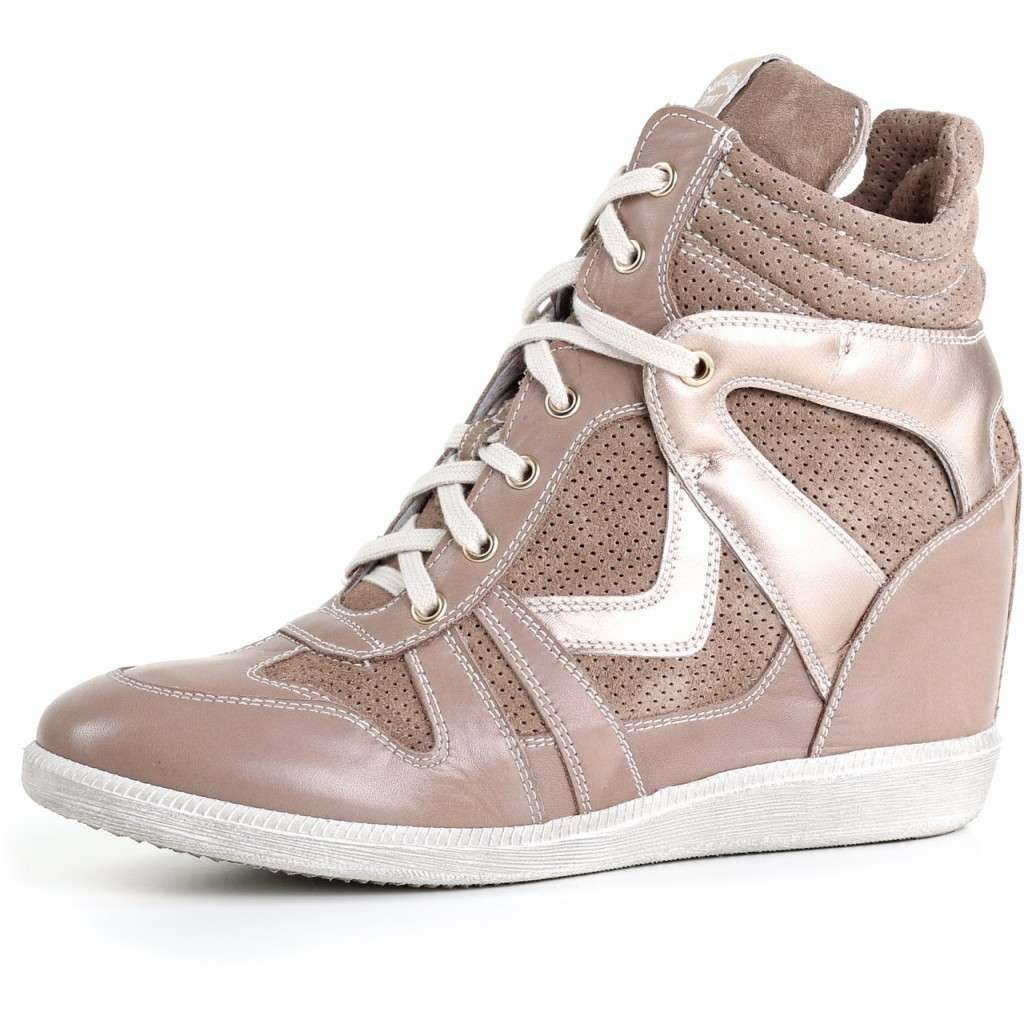 Sneakers taupe con inserti shimmer