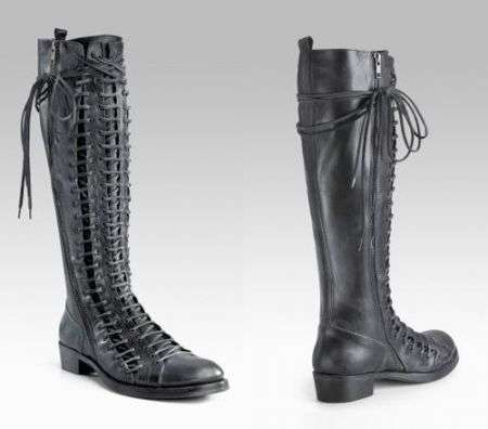 Ann Demeulemeester Triple Lace Up Flat Tall Boots