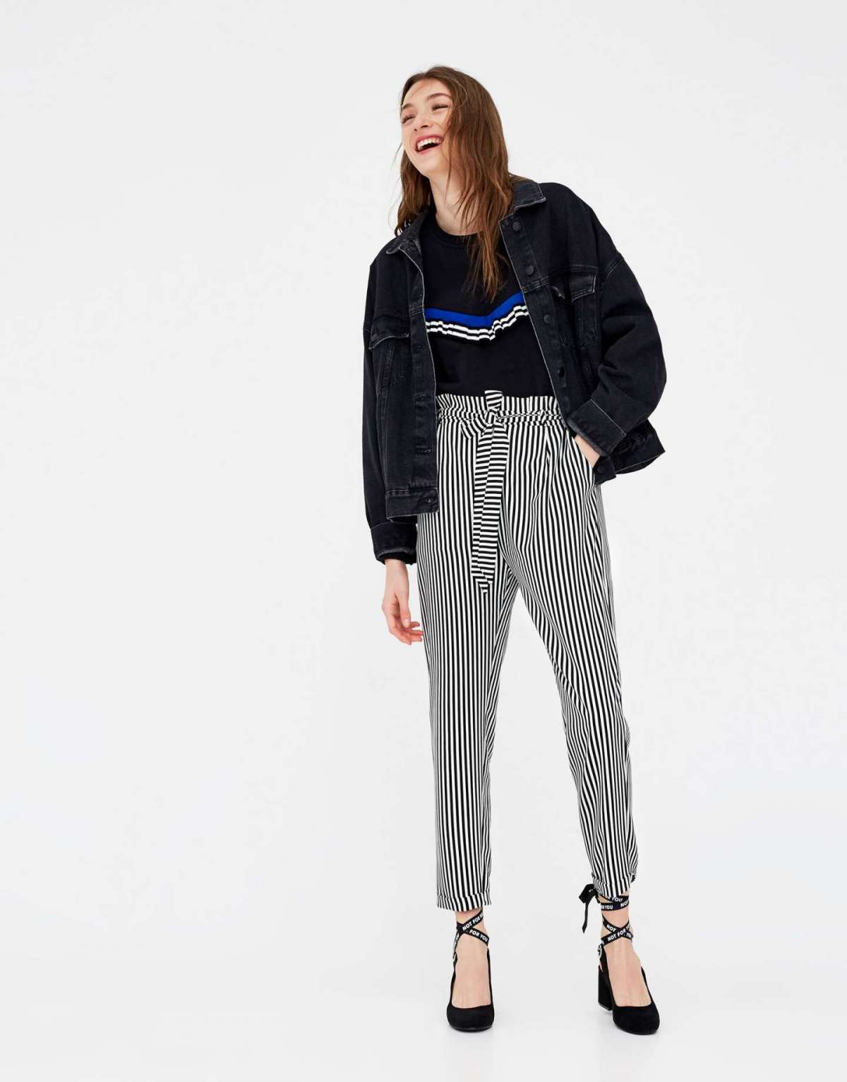 Pantaloni paper bag a righe Pull and Bear