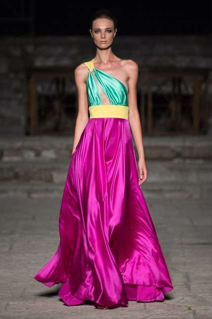 Vestito lungo color block International Couture