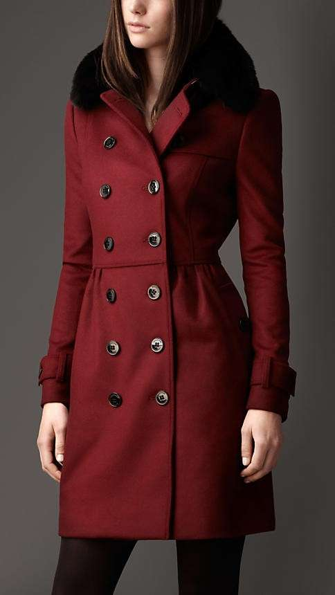 burberry cappotto bordeaux pelliccia